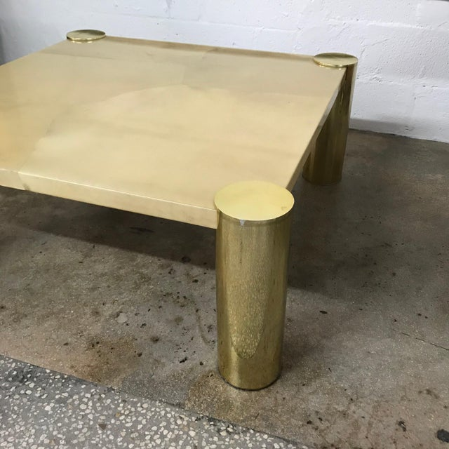 Brass Enrique Garcel Goatskin and Brass Coffee or Cocktail Table For Sale - Image 8 of 13