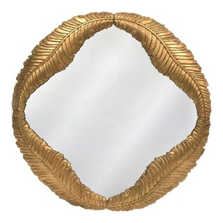 Enormous 1980s Hand Carved Giltwood Mirror