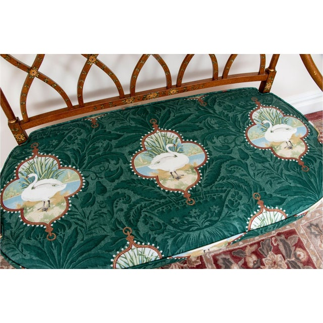 Early 20th Century Satinwood Hand-Painted Cane Settee For Sale - Image 10 of 12