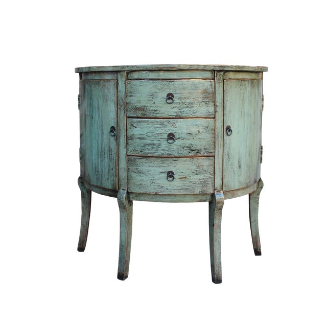 Chinese Distressed Gray Celadon Color Wood Craw Legs Half Table For Sale