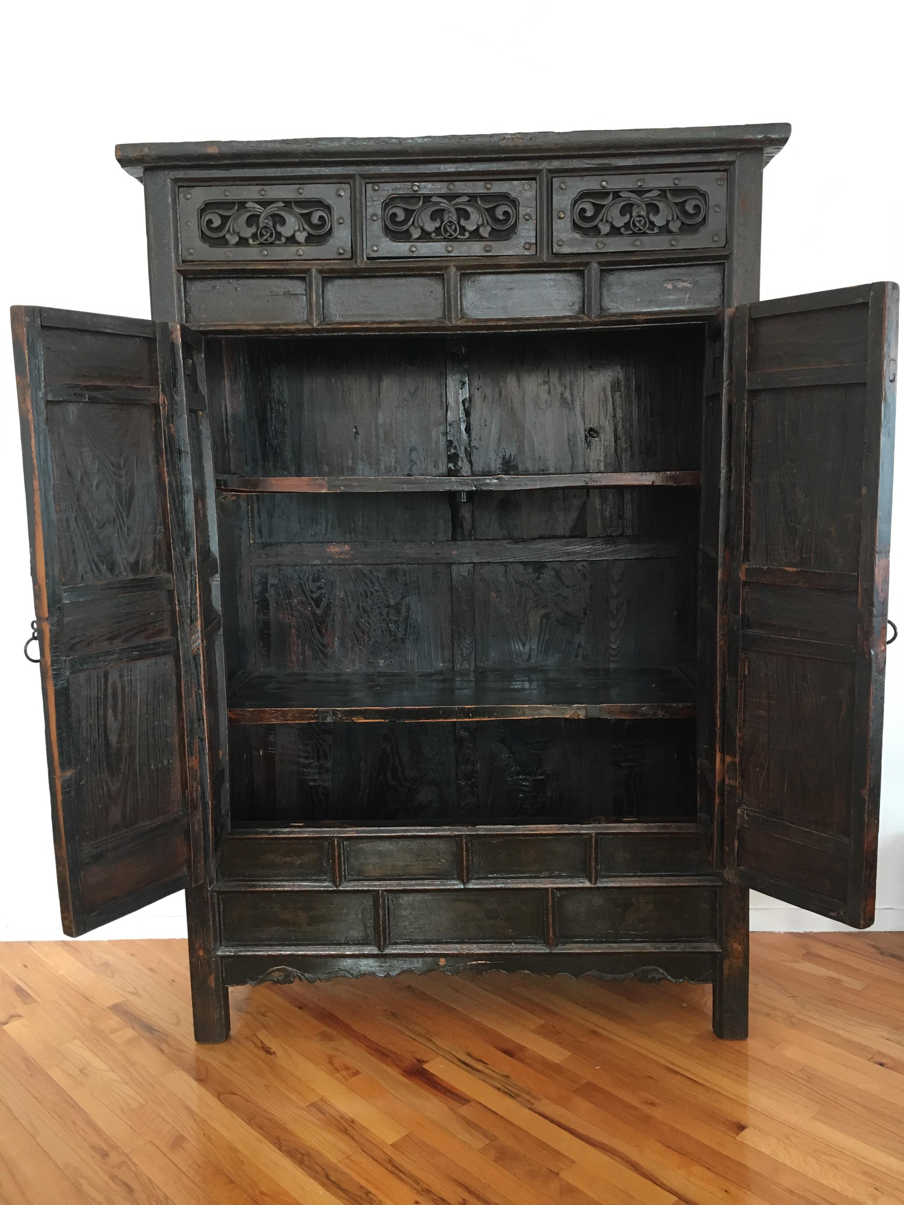 Rustic Dark Wood Armoire   Image 2 Of 3