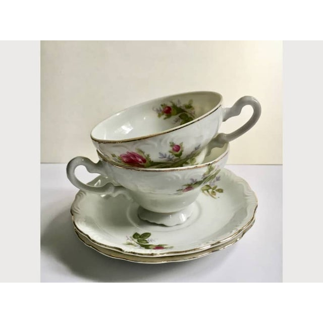 Footed Moss Rose Bone China Tea Cups - Service for 2 For Sale - Image 10 of 12