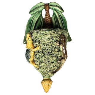 Palissy Wall Pocket With Palm Tree and Lizards For Sale
