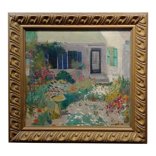 """J. A. Fontan """"The House W/The Garden of Flowers"""" Impressionist Oil Painting For Sale"""