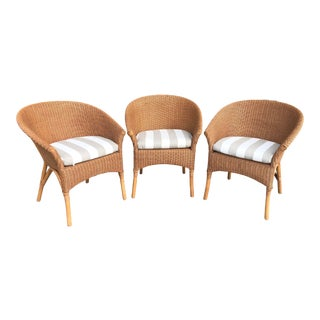 Palecek Rattan Bistro Chairs - Set of 3 For Sale
