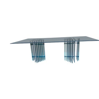 20th Century Art Deco Glass Dining Table With Graduated Beveled Stacked Glass Base For Sale