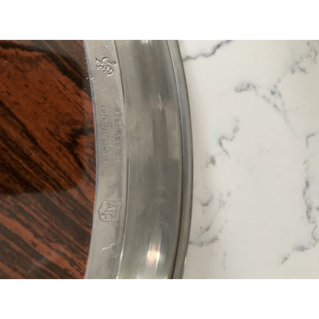 Mid 20th Century Vintage A. L. Hanle Pewter & Rosewood Formica Serving Tray For Sale In Charlotte - Image 6 of 8
