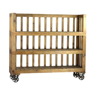 Reclaimed Wood Bookcase on Casters For Sale