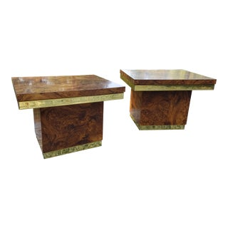 Mersman Faux Burlwood Veneer and Brass End Tables - A Pair