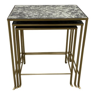 Set of Three Contemporary Brass Plate Steel and Flecked Mirror Nesting Tables For Sale