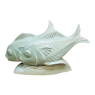 1930s French Art Deco Le Jan Mint Green Ceramic Craquelle Fish Sculpture For Sale