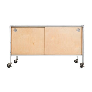Henry P. Glass Rolling Credenza For Sale
