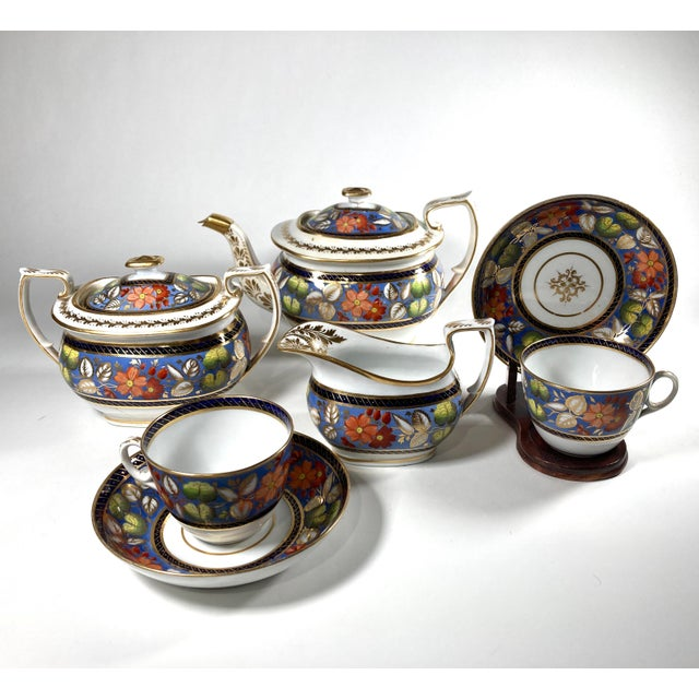 "Metal Early 19th Century English Georgian New Hall ""1126"" Porcelain Tea Service for 2 - Set of 5 Pieces For Sale - Image 7 of 7"