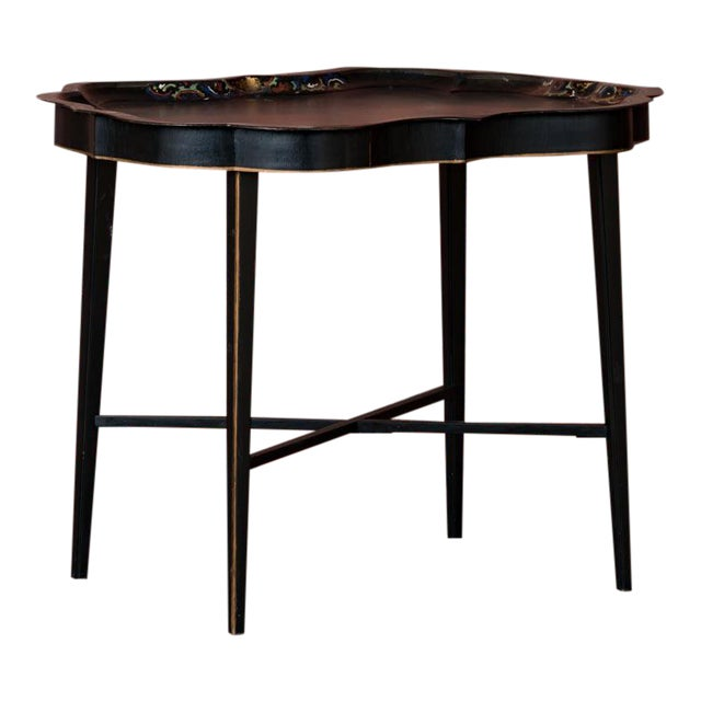 19th Century Folk Art Swedish Small Black Painted Tray Table For Sale