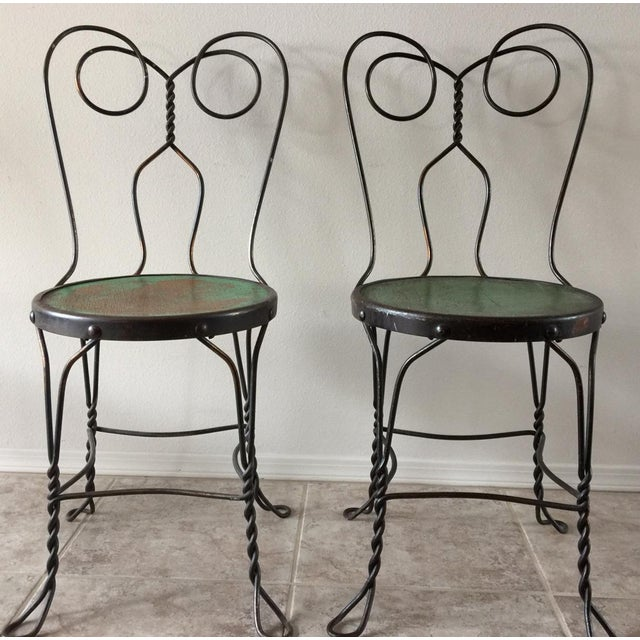 This delightful, art deco, vintage set of bistro or ice cream parlor chairs  came - Vintage Bistro Ice Cream Parlor Chairs - Set Of 4 Chairish