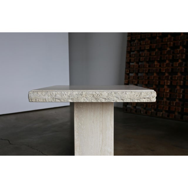 1980s Vintage Travertine Side Tables- A Pair For Sale In Los Angeles - Image 6 of 13