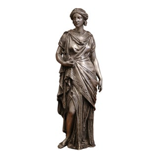 19th Century French Patinated Pewter Statue of Roman Woman For Sale
