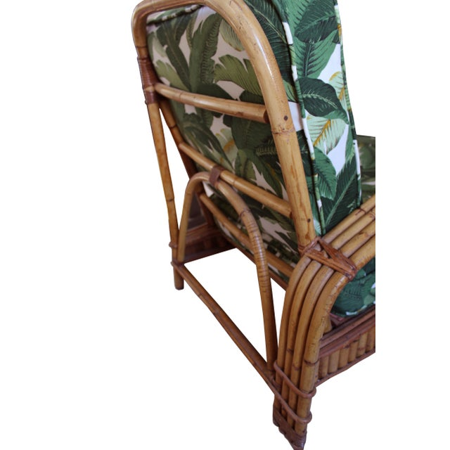 Hollywood Regency Rattan Lounge Chair For Sale - Image 5 of 7