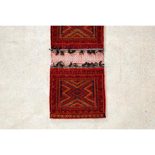 """Primitive Antique Balochistan Wool Tribal Saddlebag Rug - 1'8"""" x 3'8"""" For Sale - Image 3 of 12"""