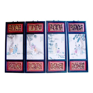 Early 20th Century Chinese Framed Porcelain Plaque Quartet of Scholars and Disciples - Set of 4 For Sale