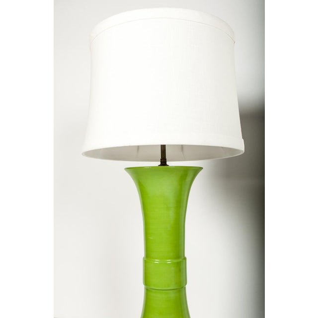 Pair of Green Porcelain Task Lamps For Sale - Image 4 of 10