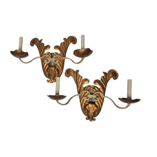 Vintage White Iron and Copper Gilt Tole Sconces - a Pair