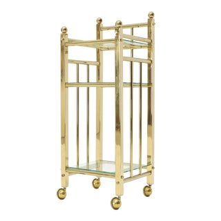 Mid-Century Modern Brass and Glass Square Stand Table Cart Pedestal on Wheels For Sale
