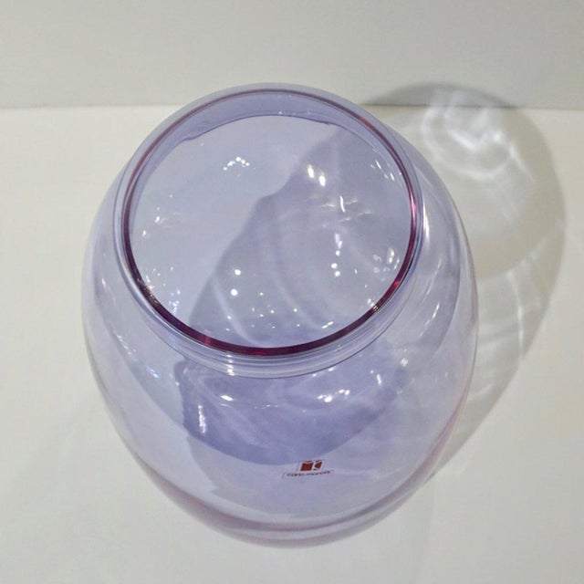 Mid-Century Modern Vintage Carlo Moretti 1980s Alexandrite Purple Blue Murano Crystal Glass Urn For Sale - Image 3 of 11