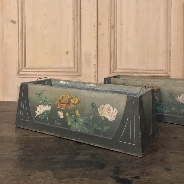 Pair French Art Deco Painted Jardinieres / Planter Boxes For Sale - Image 9 of 13
