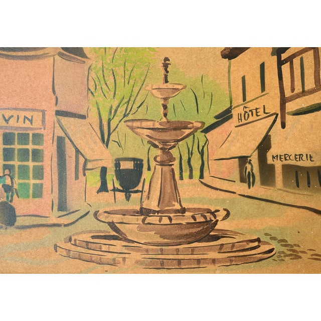 Vintage French Village Town Square Watercolor Painting For Sale - Image 9 of 10