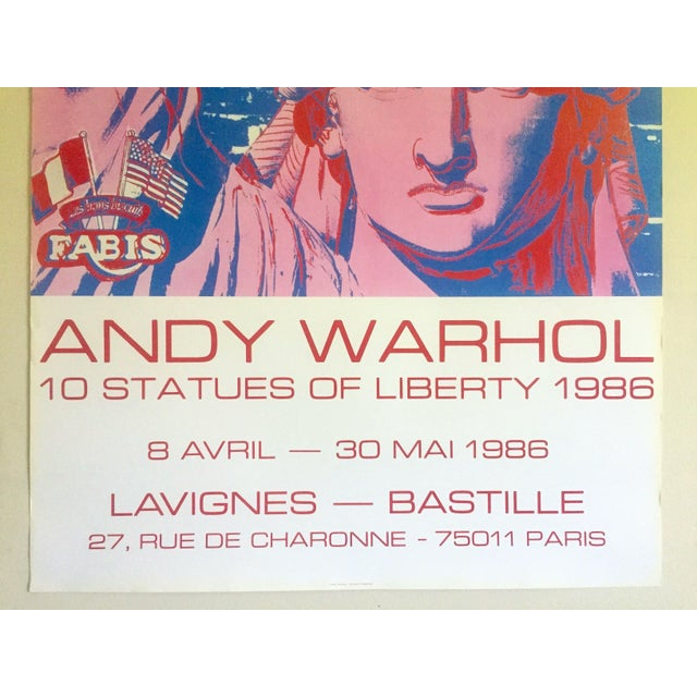 """Andy Warhol Andy Warhol Rare 1986 Lithograph Print Paris Exhibition Poster """" 10 Statues of Liberty """" For Sale - Image 4 of 13"""