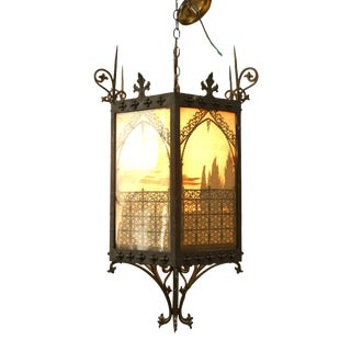 Italian Renaissance Style Iron and Glass Hanging Lanterns For Sale
