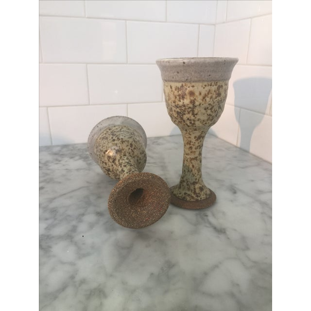 Mid-Century Brown Chalice/Goblets Pottery - Pair - Image 4 of 5