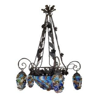 Italian Venetian Vintage Floral Art Chandelier For Sale