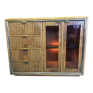 American of Martinsville Burl Wood Lighted Dry Bar For Sale