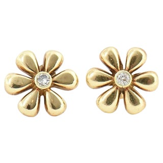 1990s Vintage Diamond & Gold Daisy Flower Earrings- A Pair For Sale