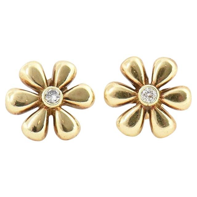 1990s Vintage Diamond & Gold Daisy Flower Earrings- A Pair For Sale