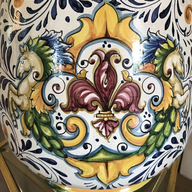 Blue and Yellow Hand-Painted Italian Ceramic Vessel For Sale - Image 4 of 8