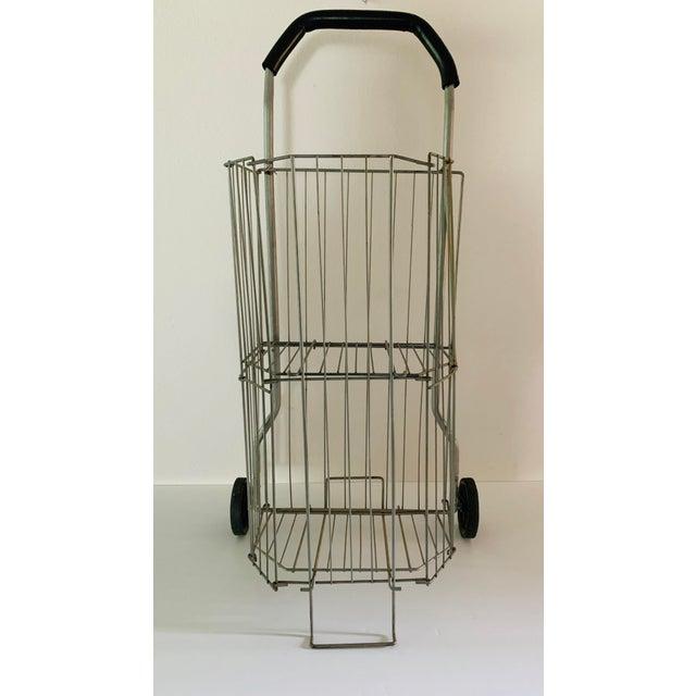 Gray Vintage Metal Rolling Flea Market Shopping Basket Cart, Collapsible 1950s For Sale - Image 8 of 8