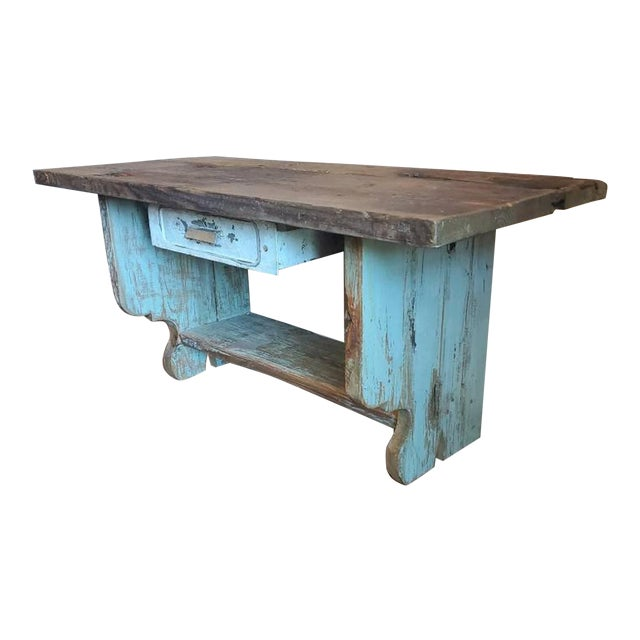Antique Rustic American Country Farmhouse Wooden Bench For Sale