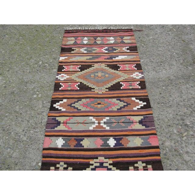 Cotton Vintage Turkish Kilim Rug - 2′8″ × 12′5″ For Sale - Image 7 of 11