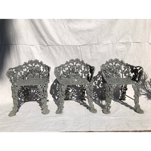 19th Century Victorian Cast Iron Garden Chairs - Set of 3 For Sale - Image 4 of 4