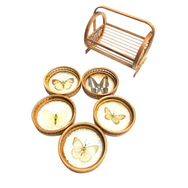 Vintage Wicker Coasters With Real Butterflies - Set of 6 For Sale