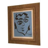 Image of Peter Keil Abstract Blue Face Portrait Painting For Sale