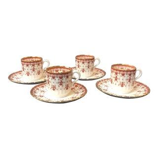Spode Fleur de Lys Demi-Tasse Cups and Saucers- 8 Pc. Set For Sale