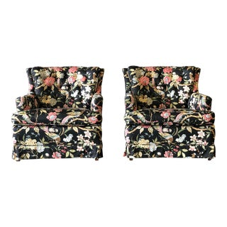 Pair of Black Floral Club Chairs For Sale