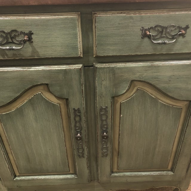 2000s Green French Country Cupboard For Sale - Image 5 of 11