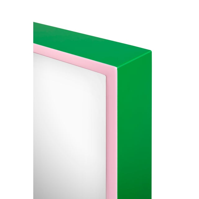 Contemporary Large Rectangular Mirror in Kelly Green / Pink - Pentreath & Hall for The Lacquer Company For Sale - Image 3 of 5