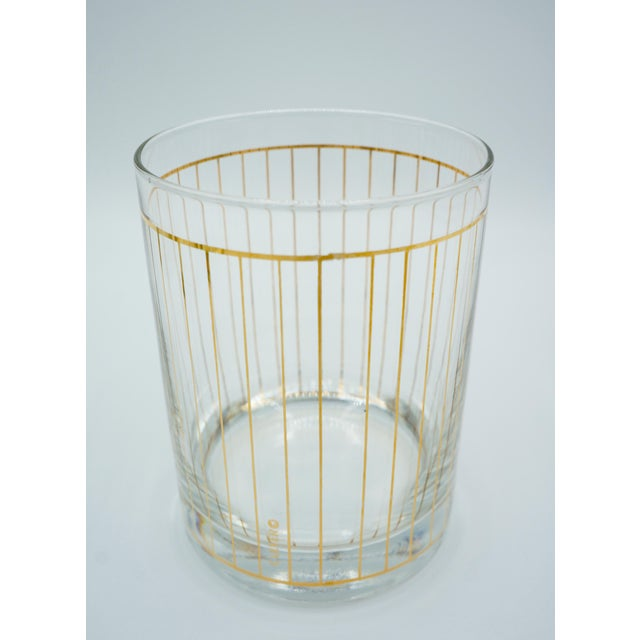 Mid 20th Century Golden Pinstriped Low Ball Cocktail Glasses (6) & Champagne Bucket With Bar Tools For Sale - Image 5 of 13