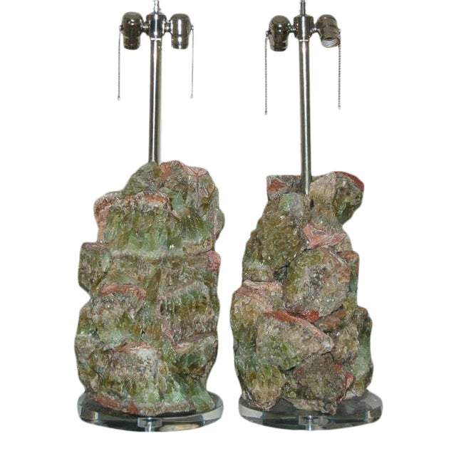 Green Calcite Rock Table Lamps by Swank Lighting - a Pair For Sale